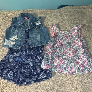 Girl bodysuit, vest and colorful Blouse